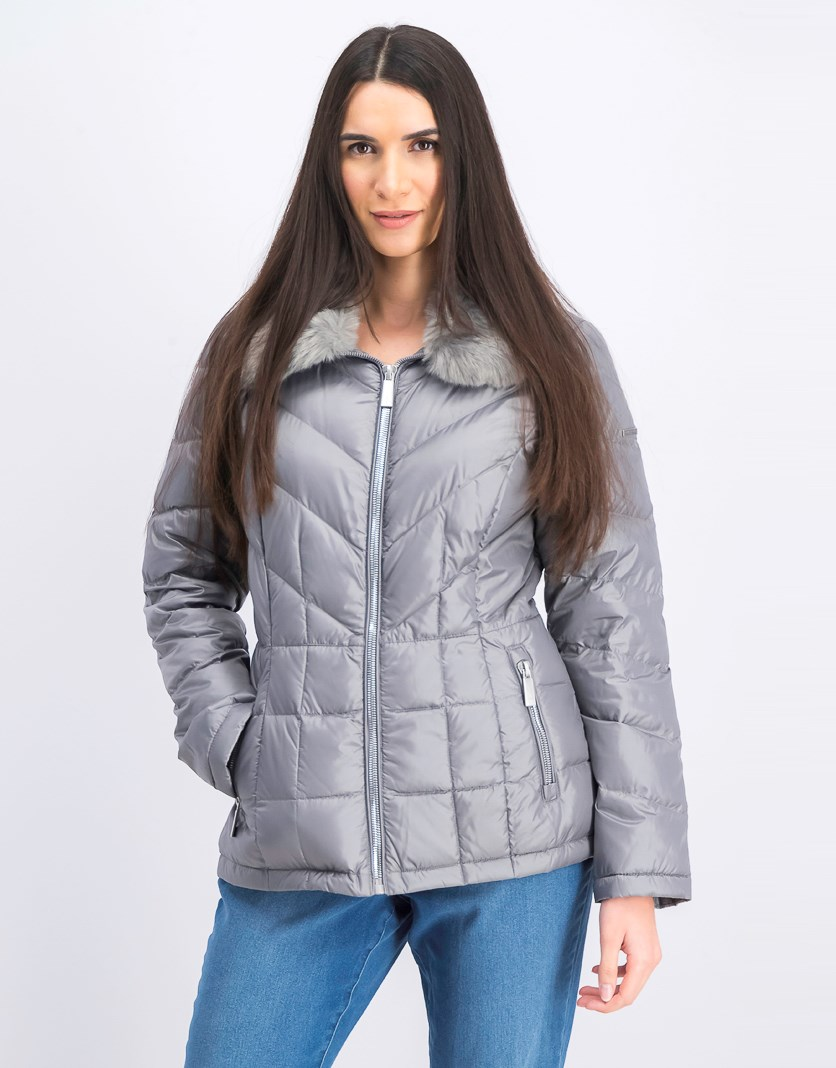 Women's Faux-Fur-Collar Puffer Coat, Nickle