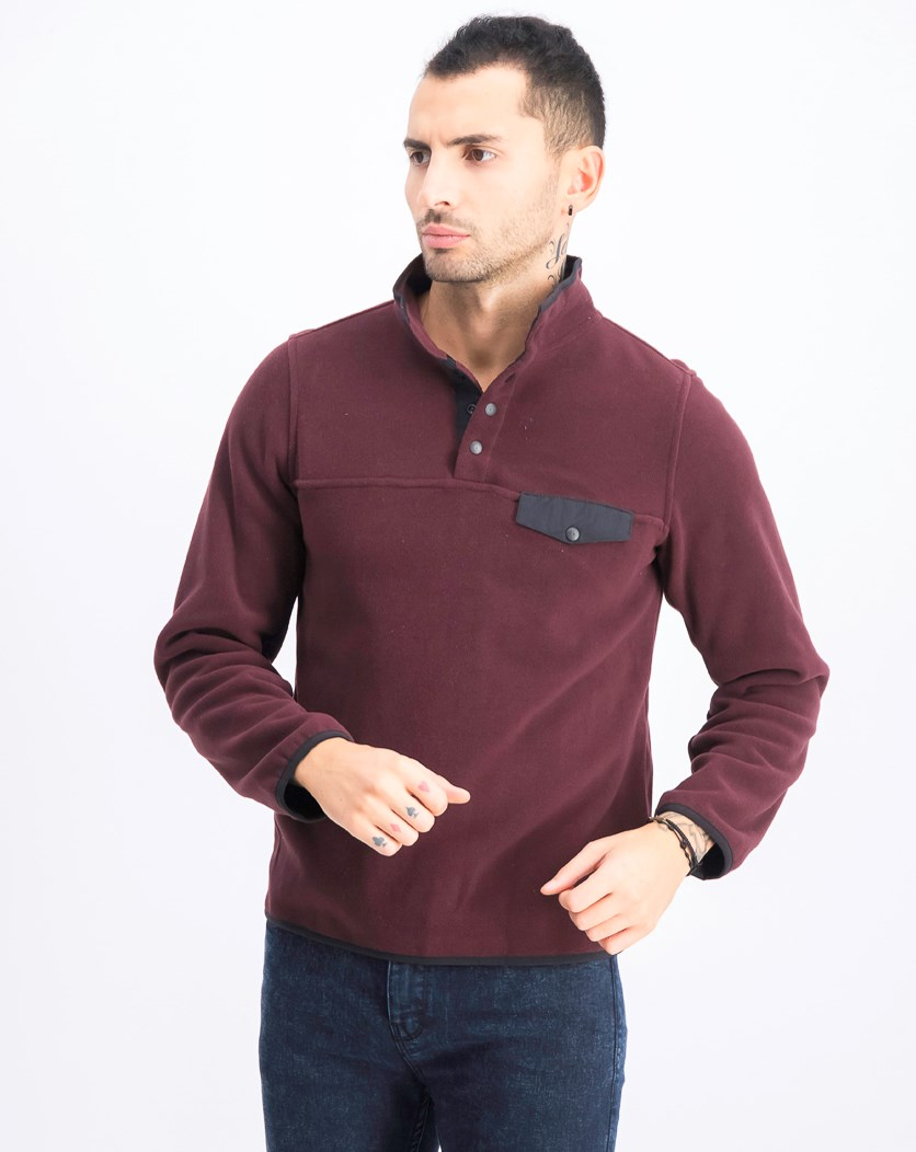 Men's Mock Neck Sweater, Port
