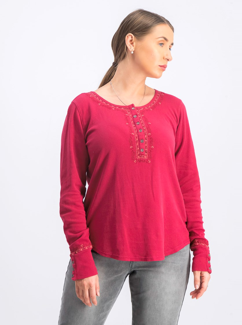 Women's Embroidered Henley Shirt, Persian Red