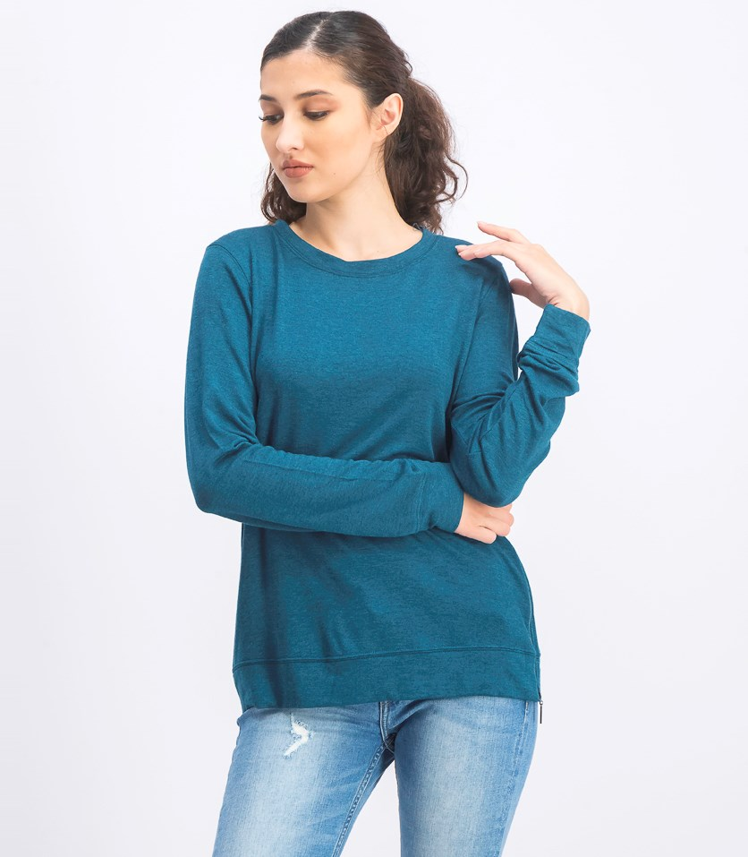 Women's With Side Zippers Tee, Jade