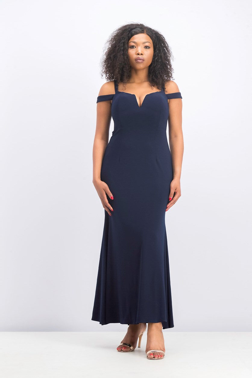 Petite Cold-Shoulder Gown, Navy