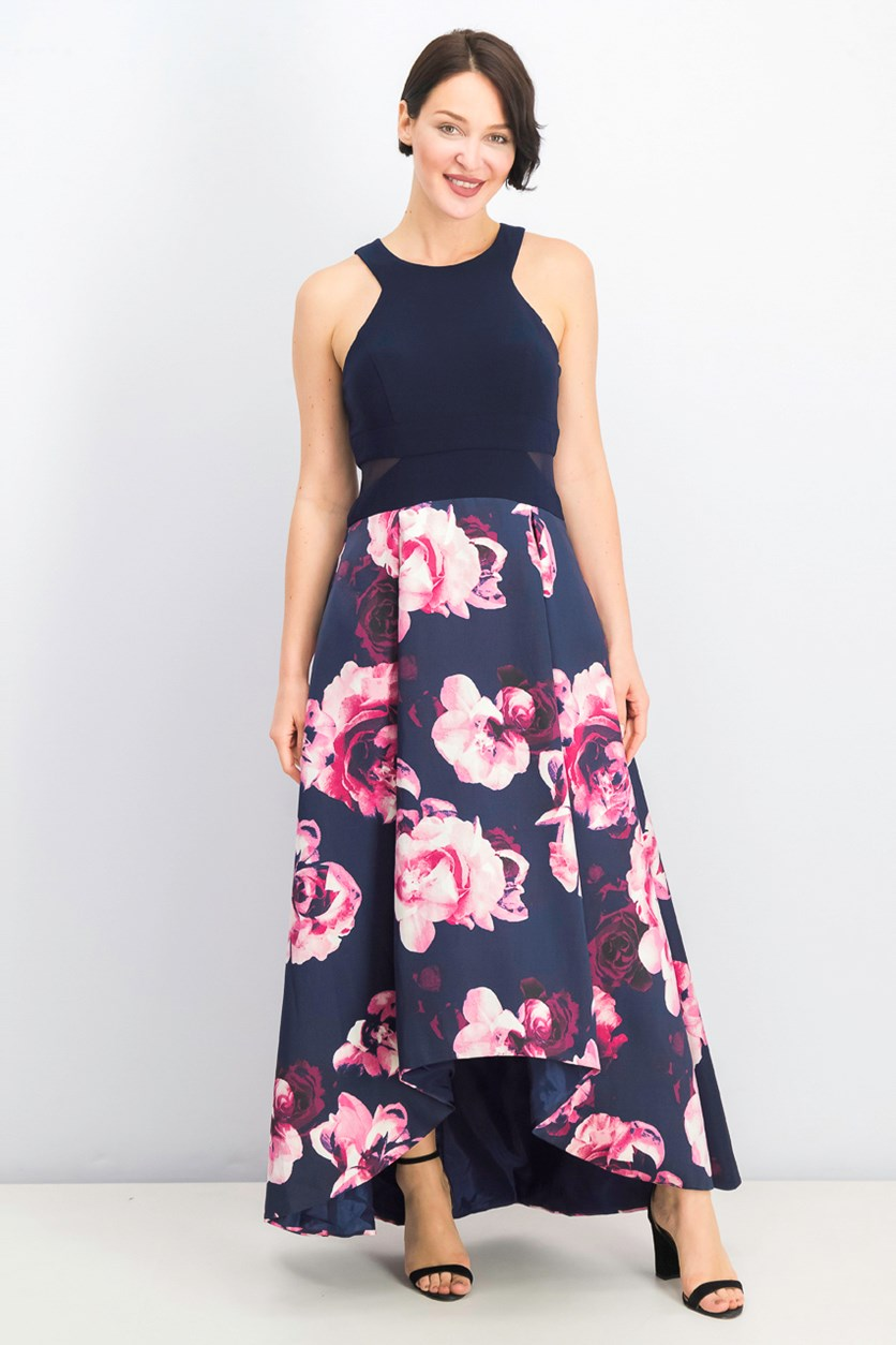 Women's Petites Floral Hi-Low Evening Dress, Navy