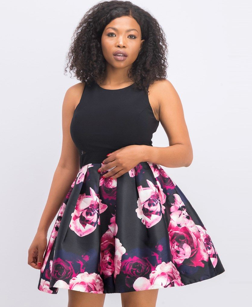 Floral Print Fit Flare Dress, Black/Pink