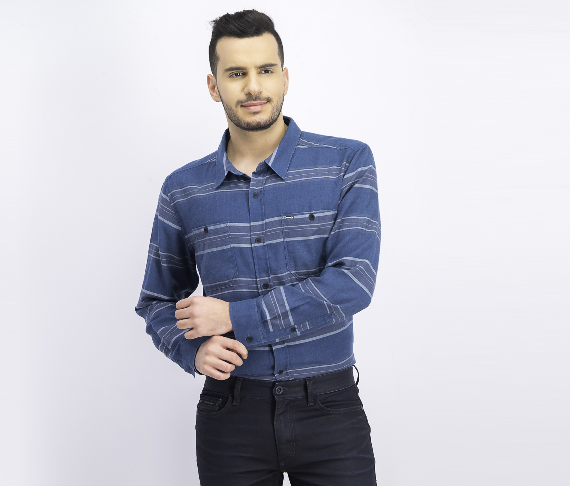 Men's Country Line Long-Sleeve Shirt, Space Blue