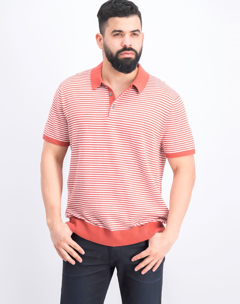 Men's Striped Banded Polo Shirt, Sienna Red