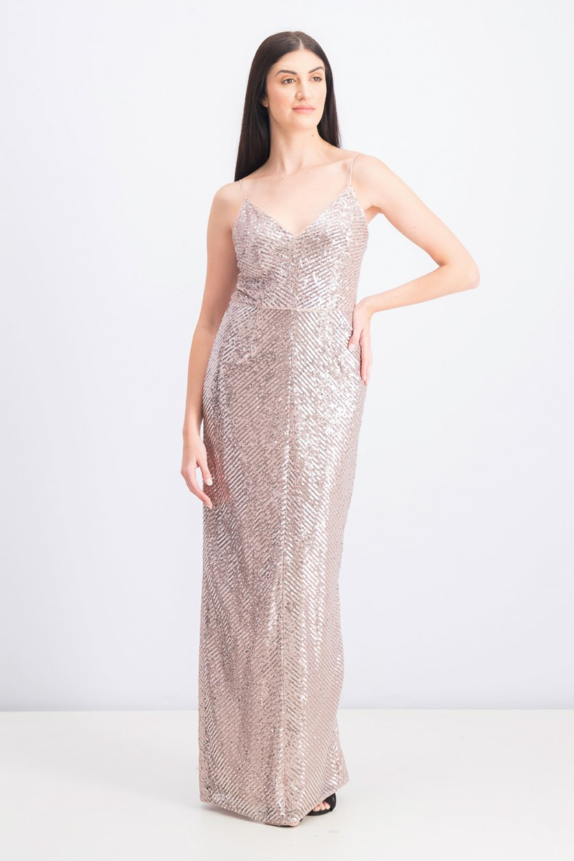 Sequined Column Gown, Rose Gold
