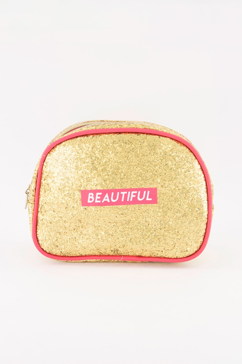 Beautiful Glitter Dome Cosmetic Case, Gold/Pink