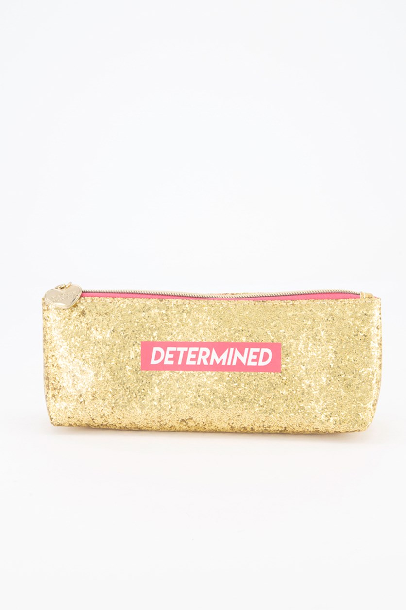Determined Long Cosmetic Case, Gold/Pink