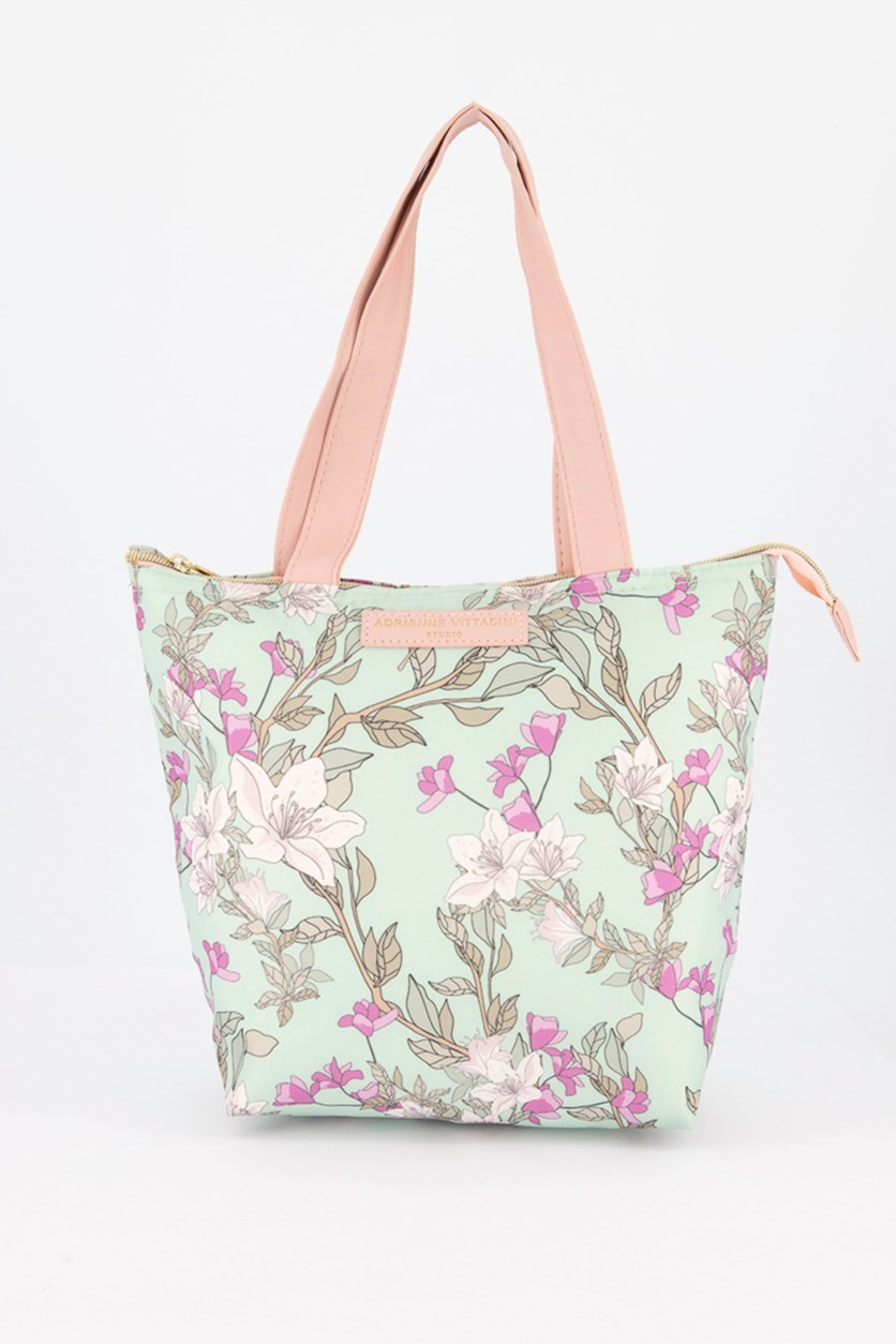 Floral Nylon Boxed Lunch Bag, Mint