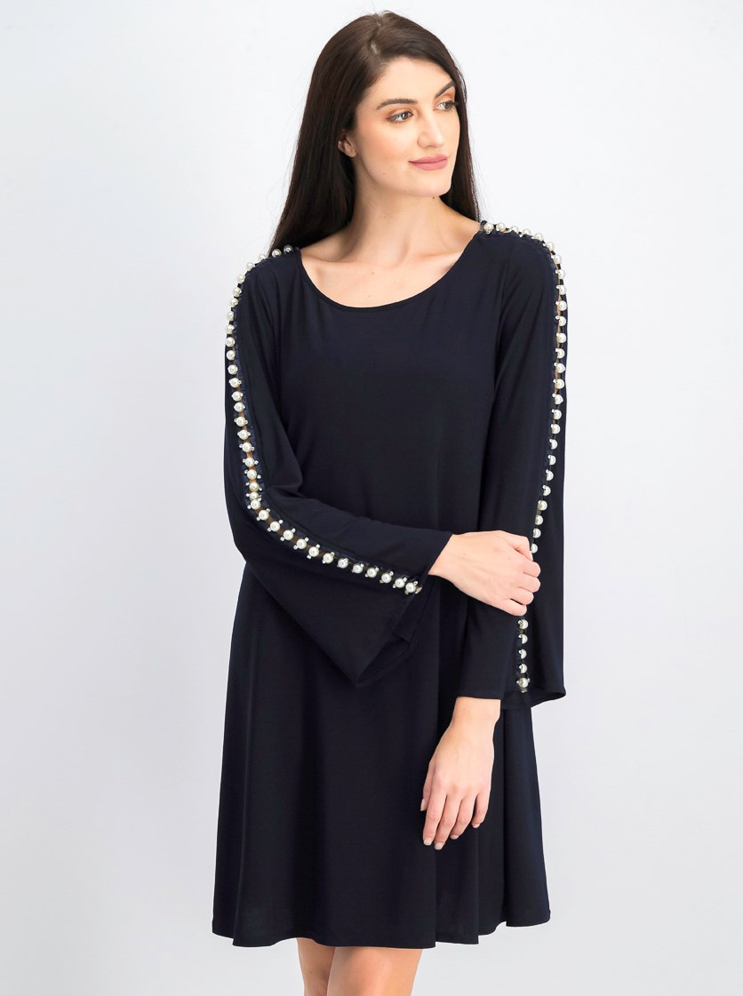 Women's Embellished-Sleeve Stretch Dress, Navy
