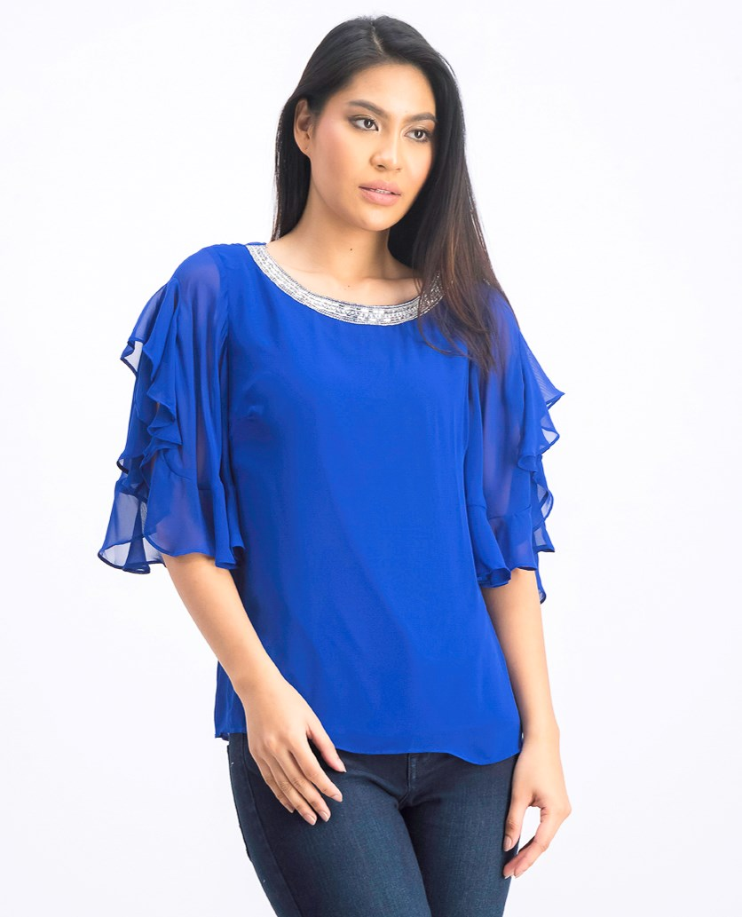 Womens Embellished Ruffle Sleeves Blouse, Blue
