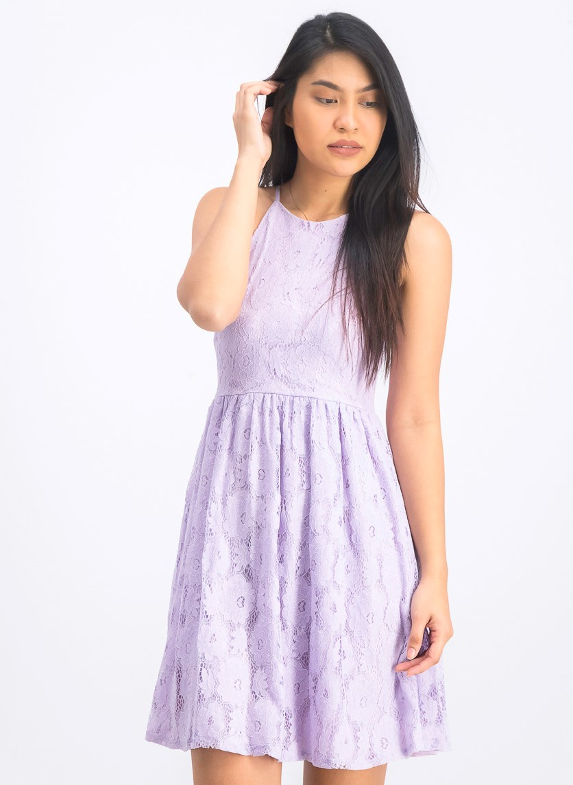 Women's Lace Pleated Cocktail Dress, Lavender