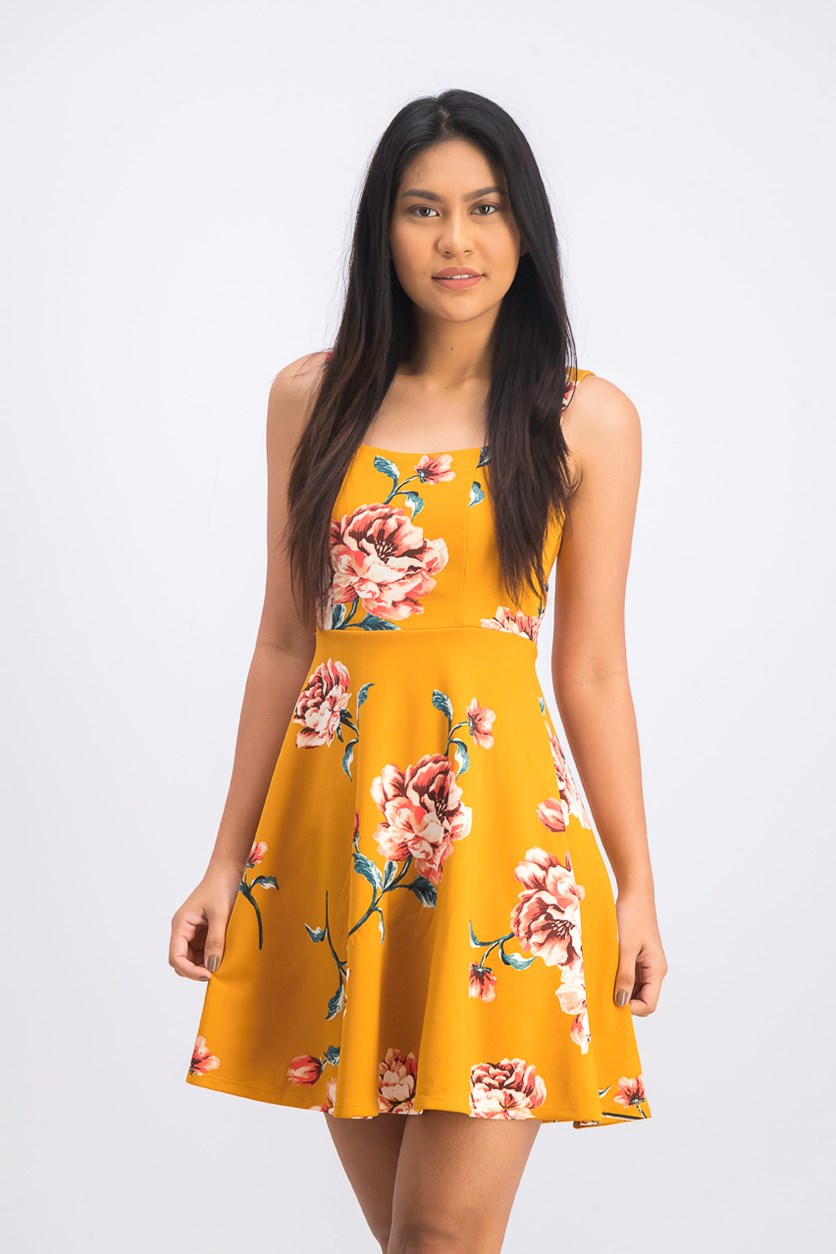 Women's Floral Flare Dress, Saffron