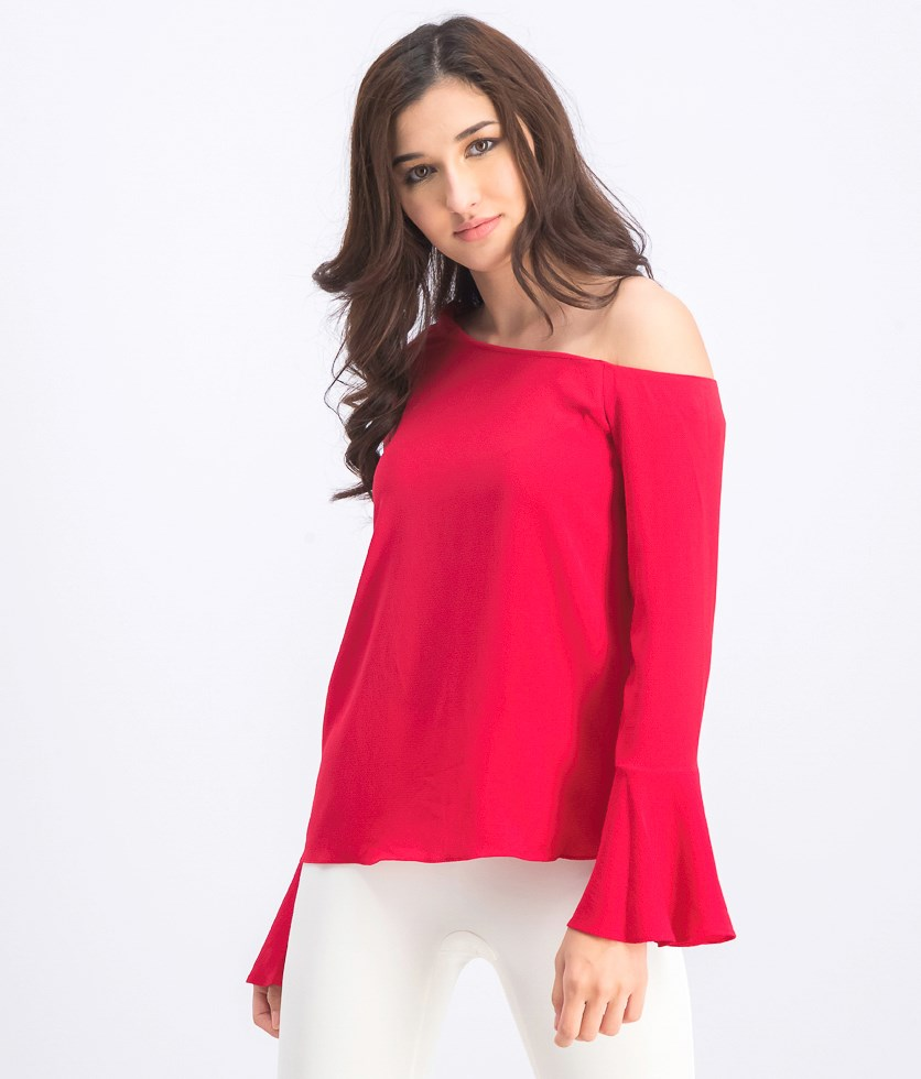 Women's One-Shoulder Flare Sleeve Top, Cherry Red