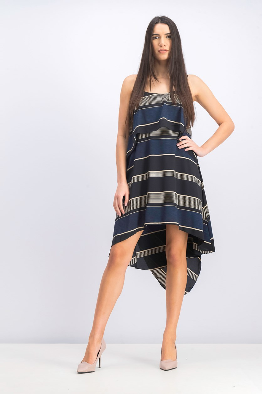 Women's Stripe-Printed Layered Flounce Sleeveless Dress, Navy/Black