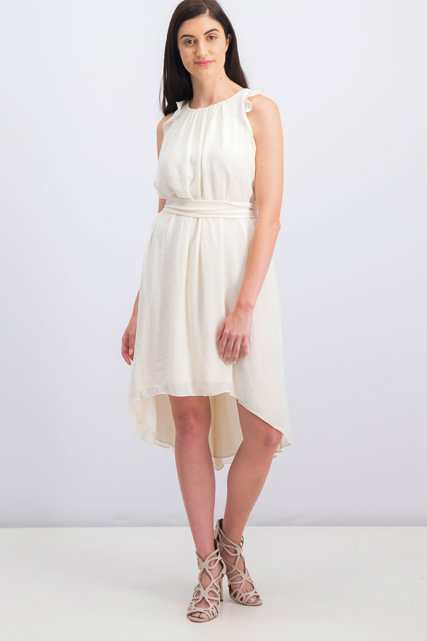 Ruffled-Top High-Low Dress, Cream