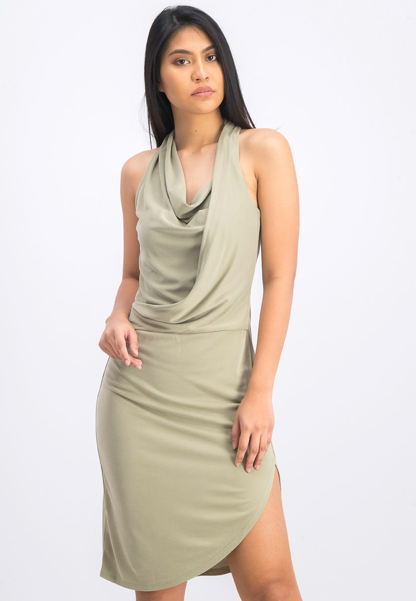 Women's Sleeveless Draped Dress, Oregano