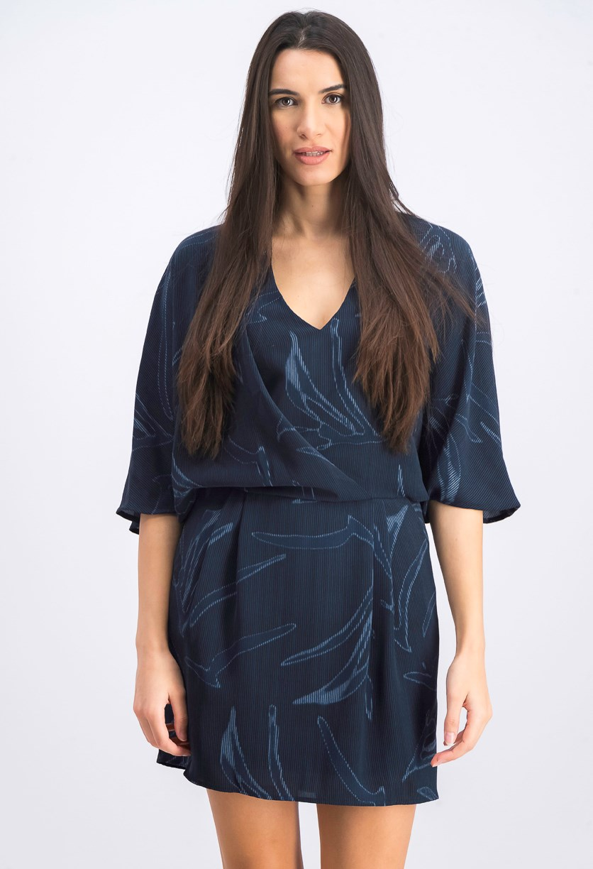 Women's Printed Kimono Dress, Black/Navy