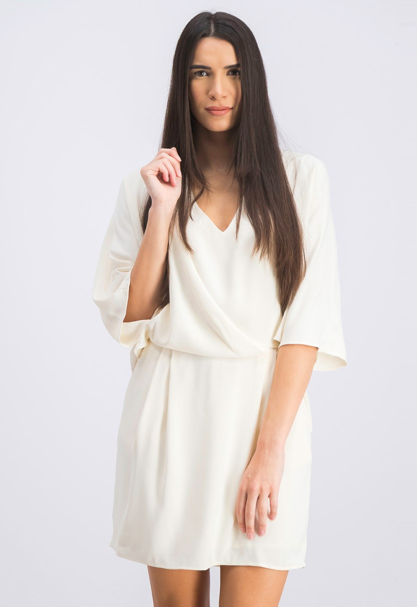 Women's Kimono Sleeve Shift Dress, Cream