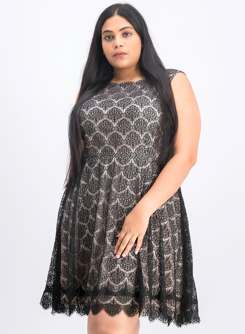 Women's Plus Size Lace Sleeveless Fit & Flare Cocktail Dress, Black