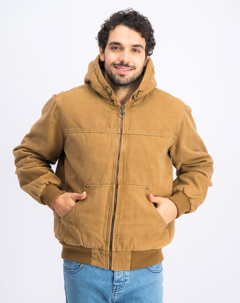 Men's Hooded Bomber Jacket, Brown