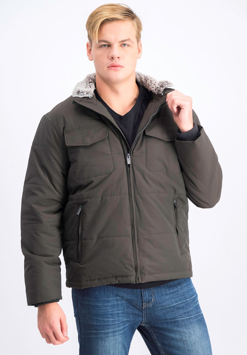 Men's Faux Fur Lined Mock Neck Coat, Moss