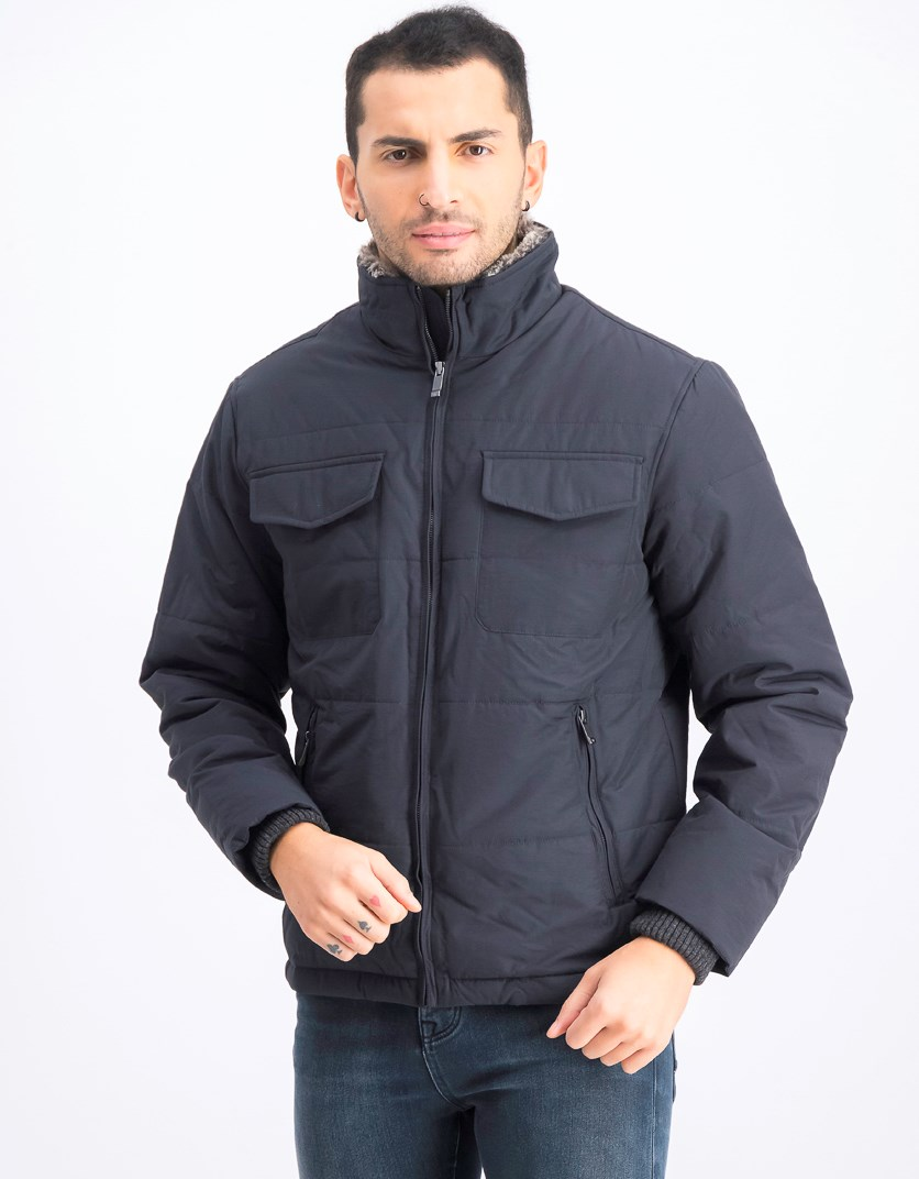 Men's Modern Classic Techno Puffer With Faux Fur Collar Jacket, Admiral Navy