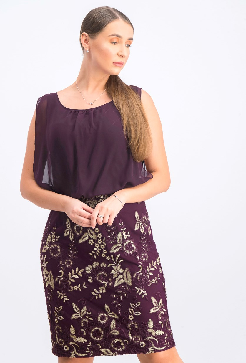 Women's Chiffon Embroidered Cocktail Dress, Purple