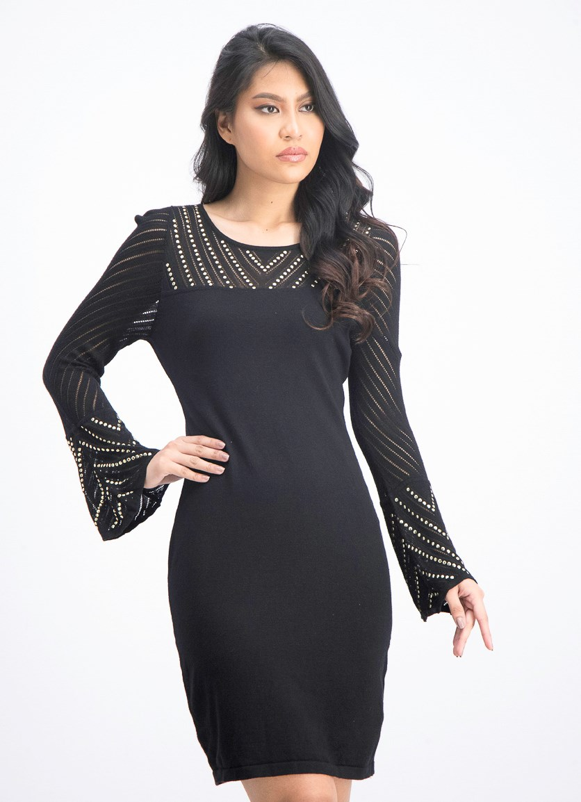 Women's Petite Studded Sweater Dress, Black