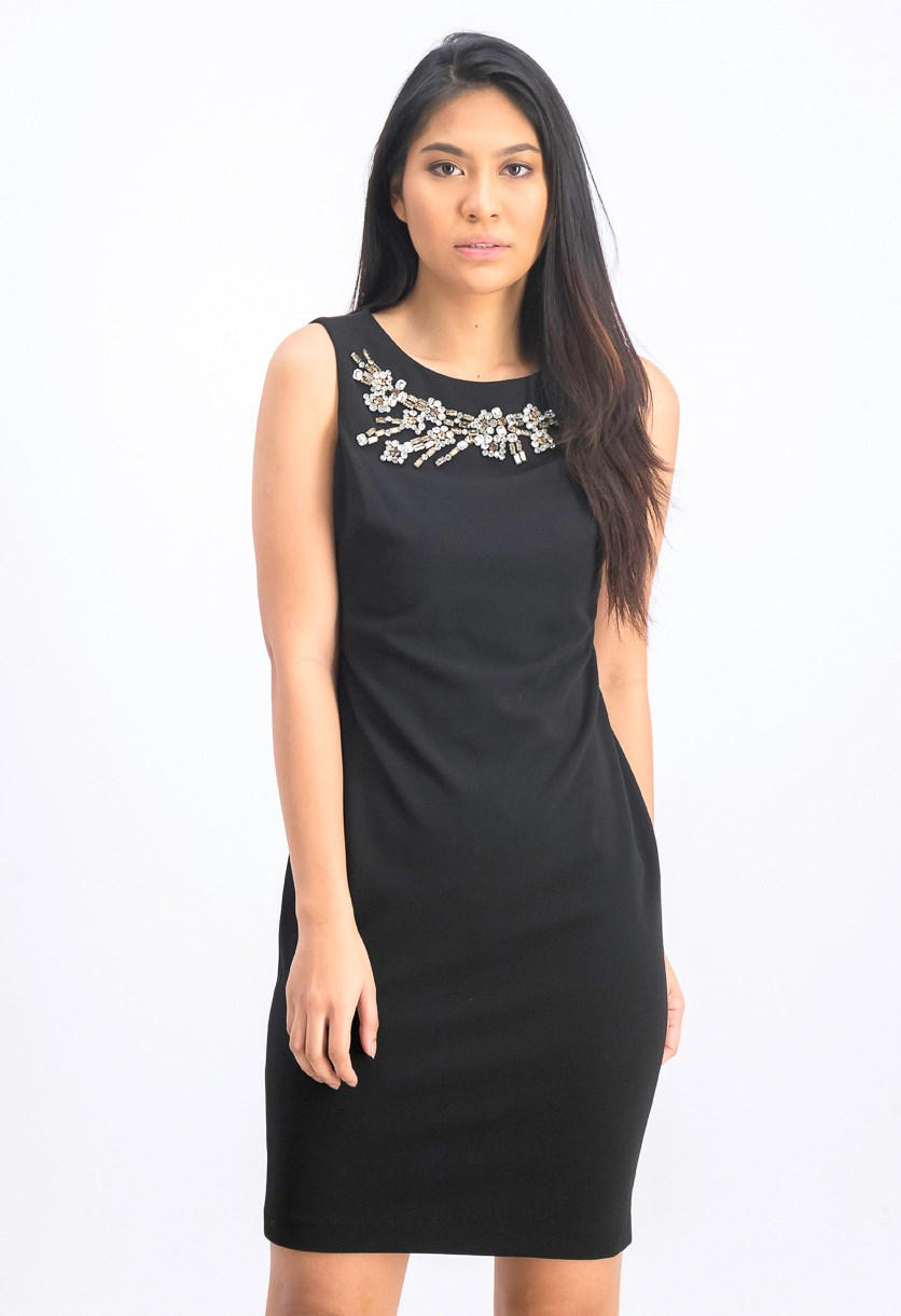 Women's Rhinestone-Embellished Sheath Dress, Black