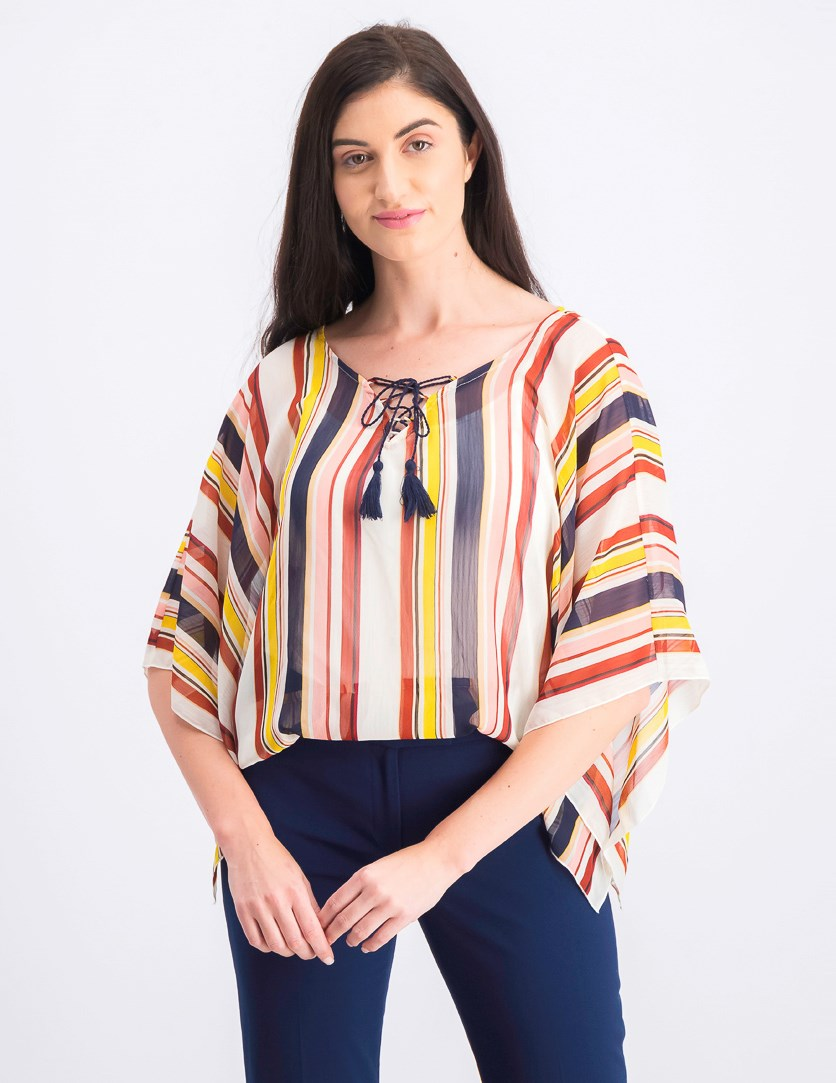 Women's Lace-Up Striped Poncho Top, Ivory Striped