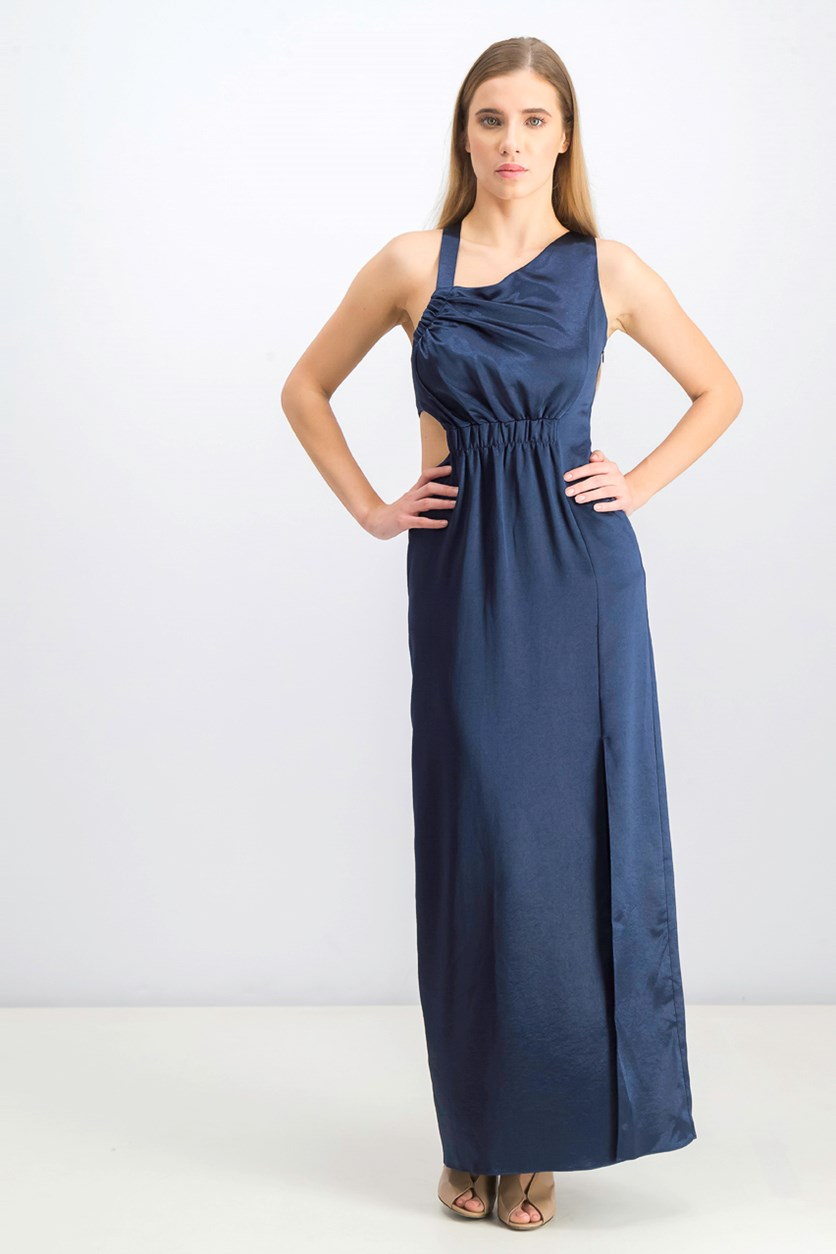 Women's Satin Asymmetric Evening Dress, Navy