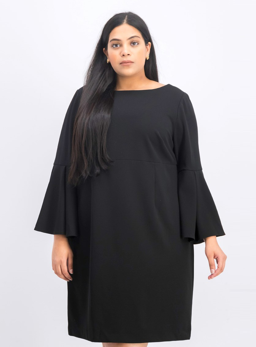 Women's Plus Size Bell-Sleeve Sheath Dress, Black