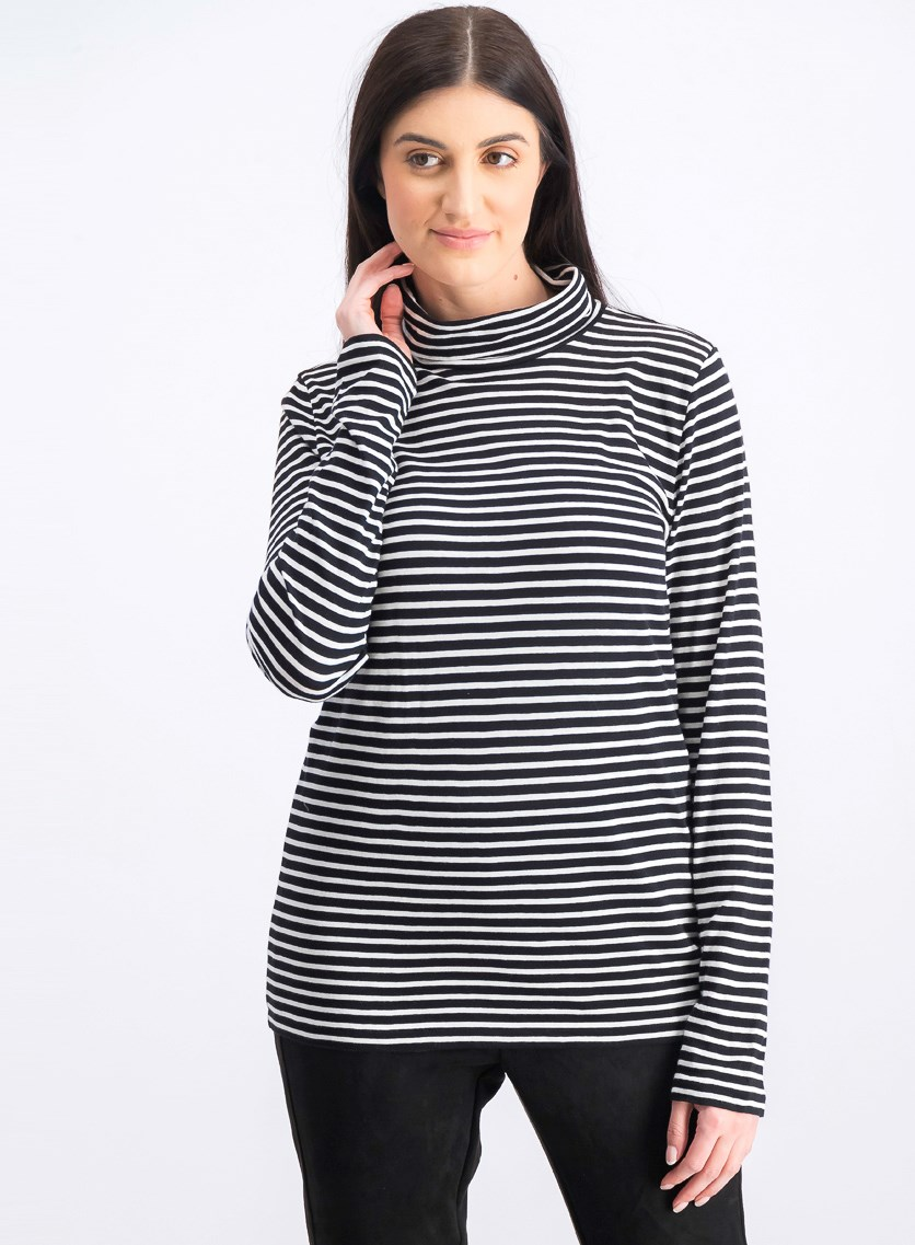 Women's Turtle Neckline Sweater, Black/White