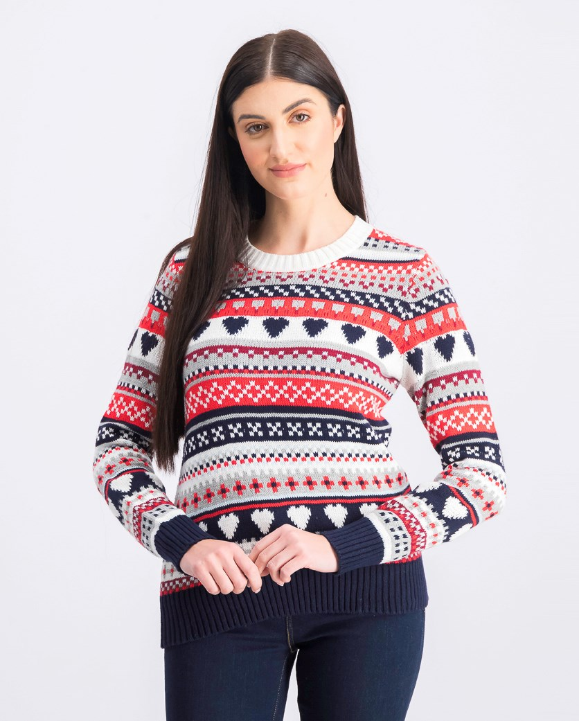 Women's Knitted Sweater, Red/Navy