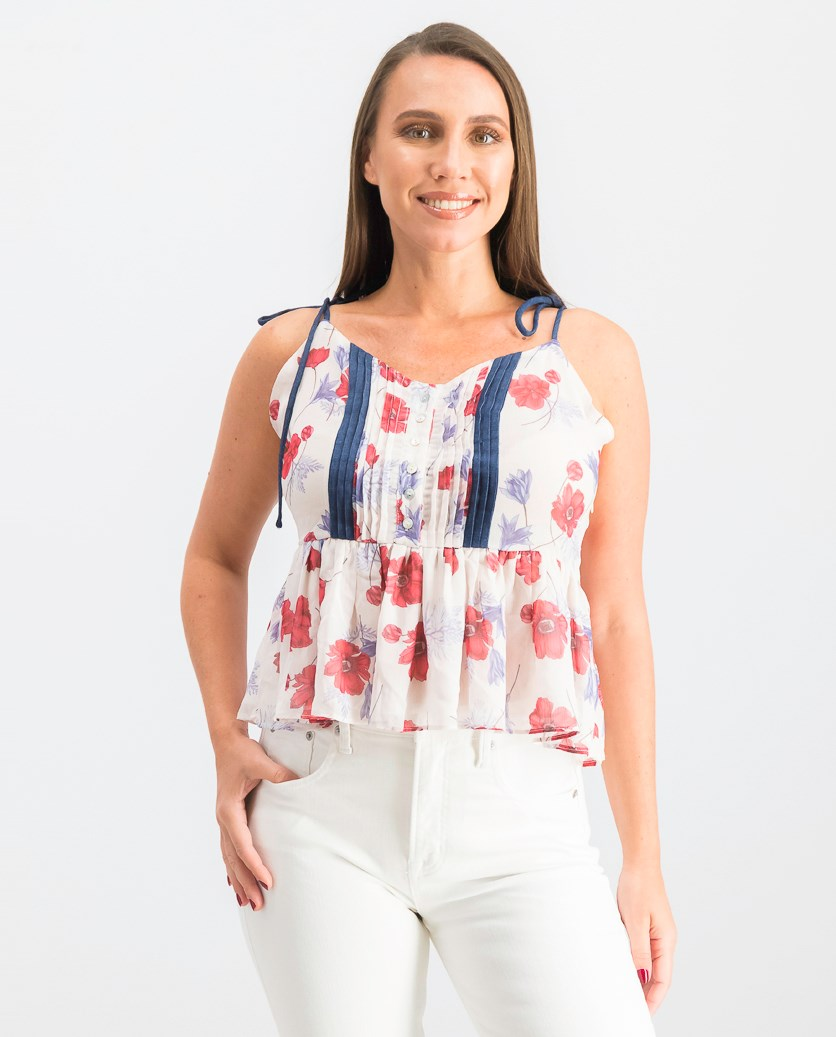 Floral Print Peplum Tank Top, Blush/Poppy