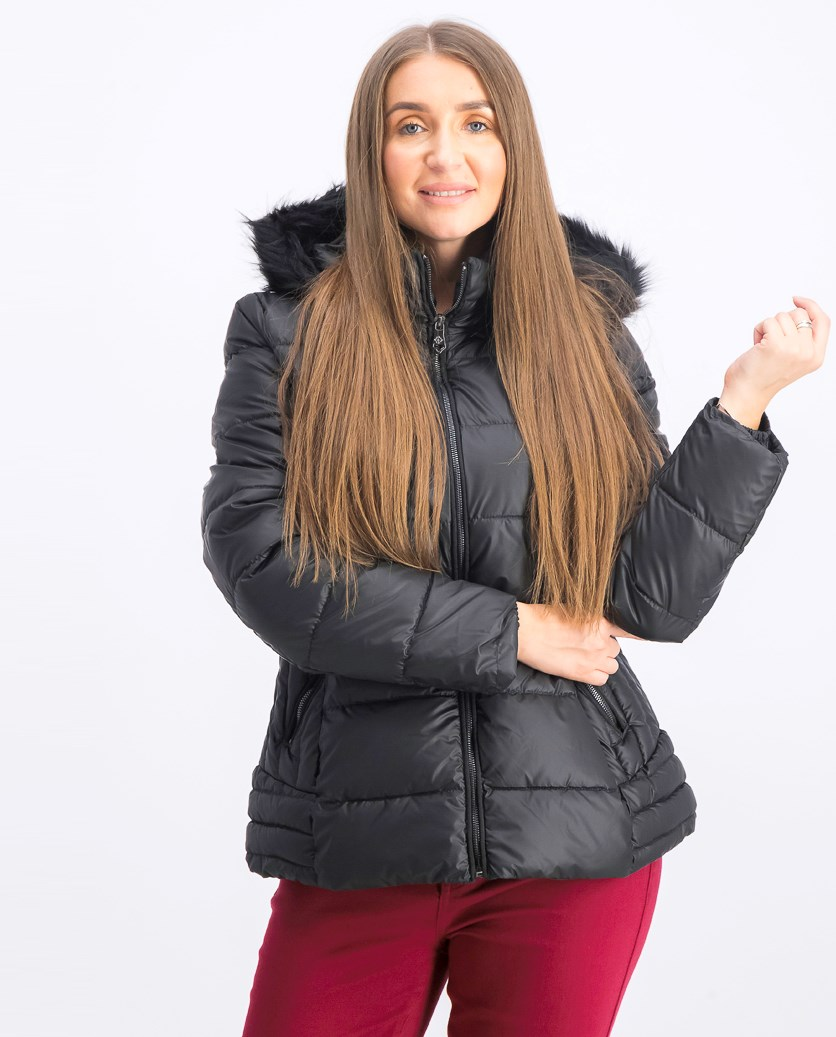 Women's Quilted Fur Trim Hooded Iridescent Puffer Jacket, Black