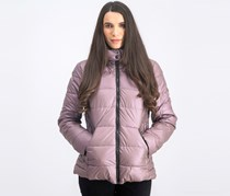 Women's Quilted Fur Trim Hooded Iridescent Puffer Jacket, Mauve