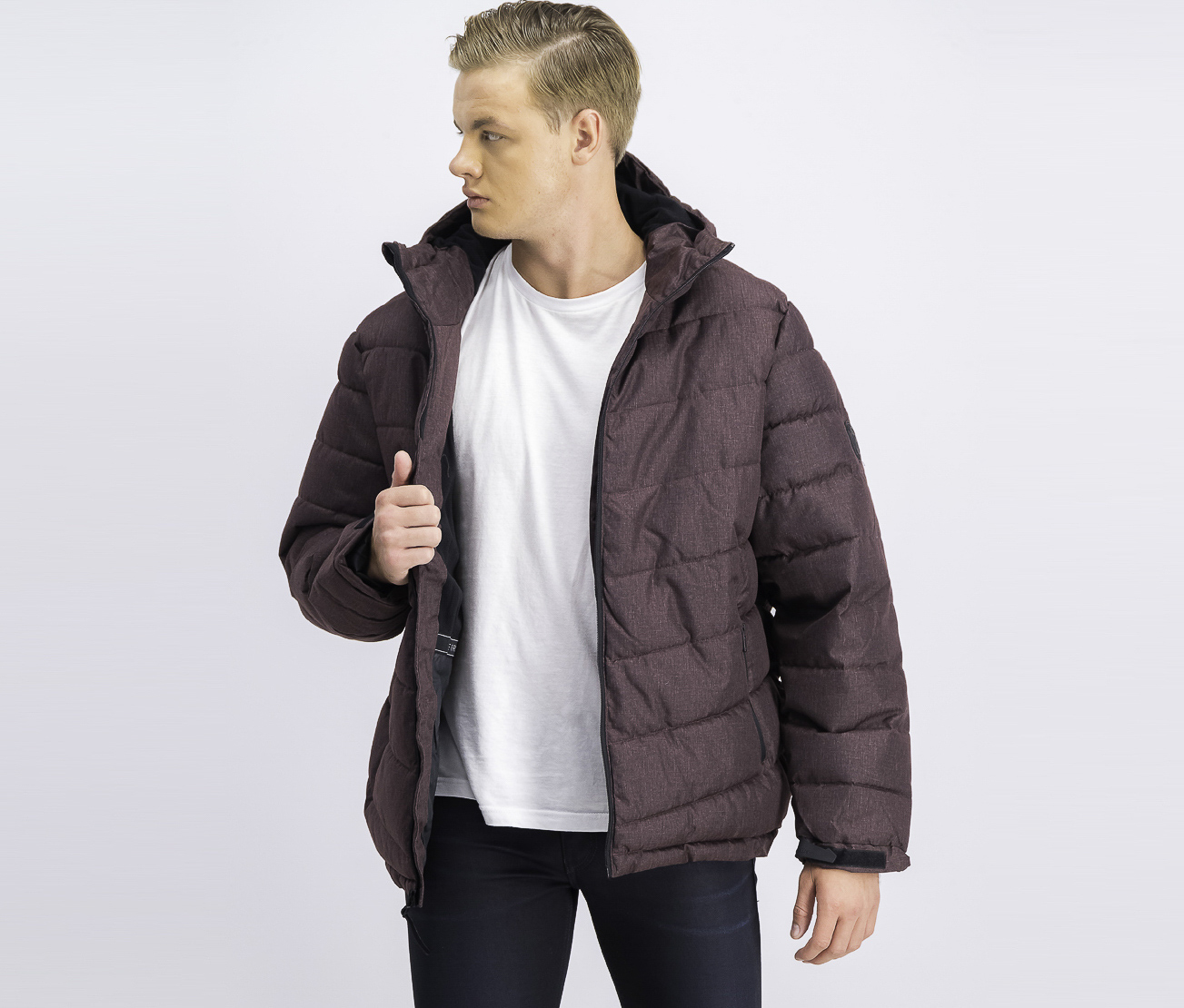 Men's Heather Puffer Jacket, Port