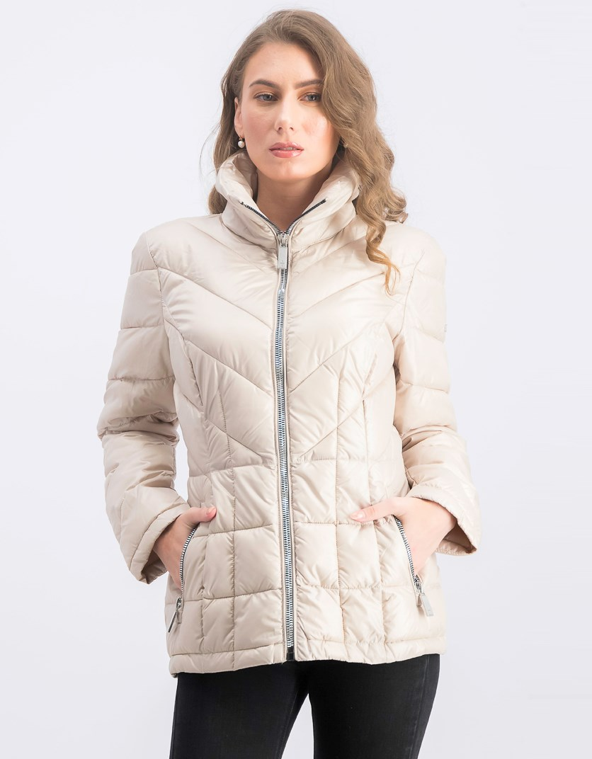 Women's Quilted Insulated Coat, Biege