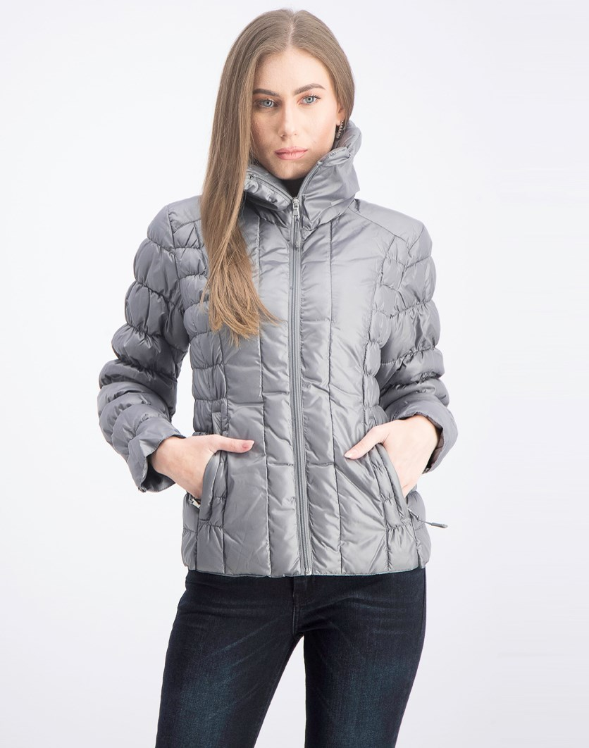 Quilted Packable Puffer Jacket, Grey