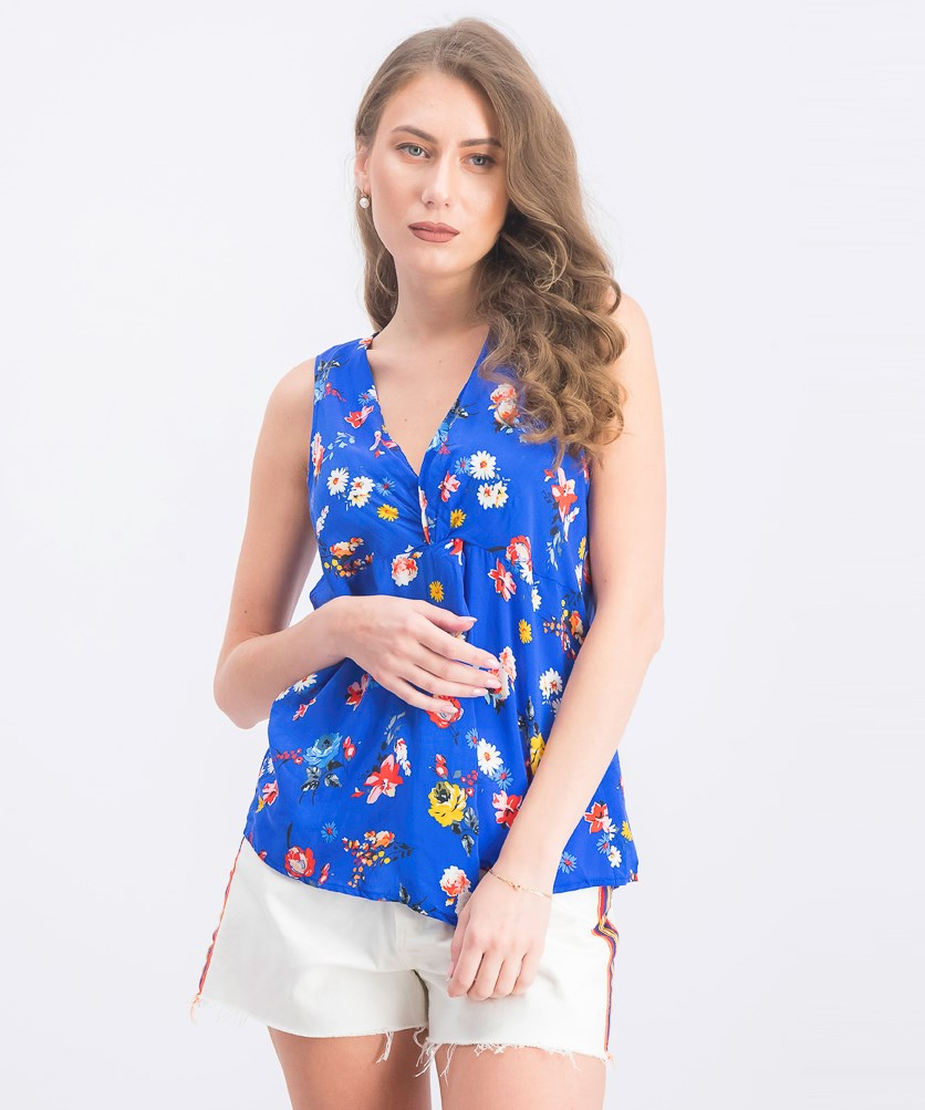 Women's Floral Sleeveless Blouse, Blue Combo