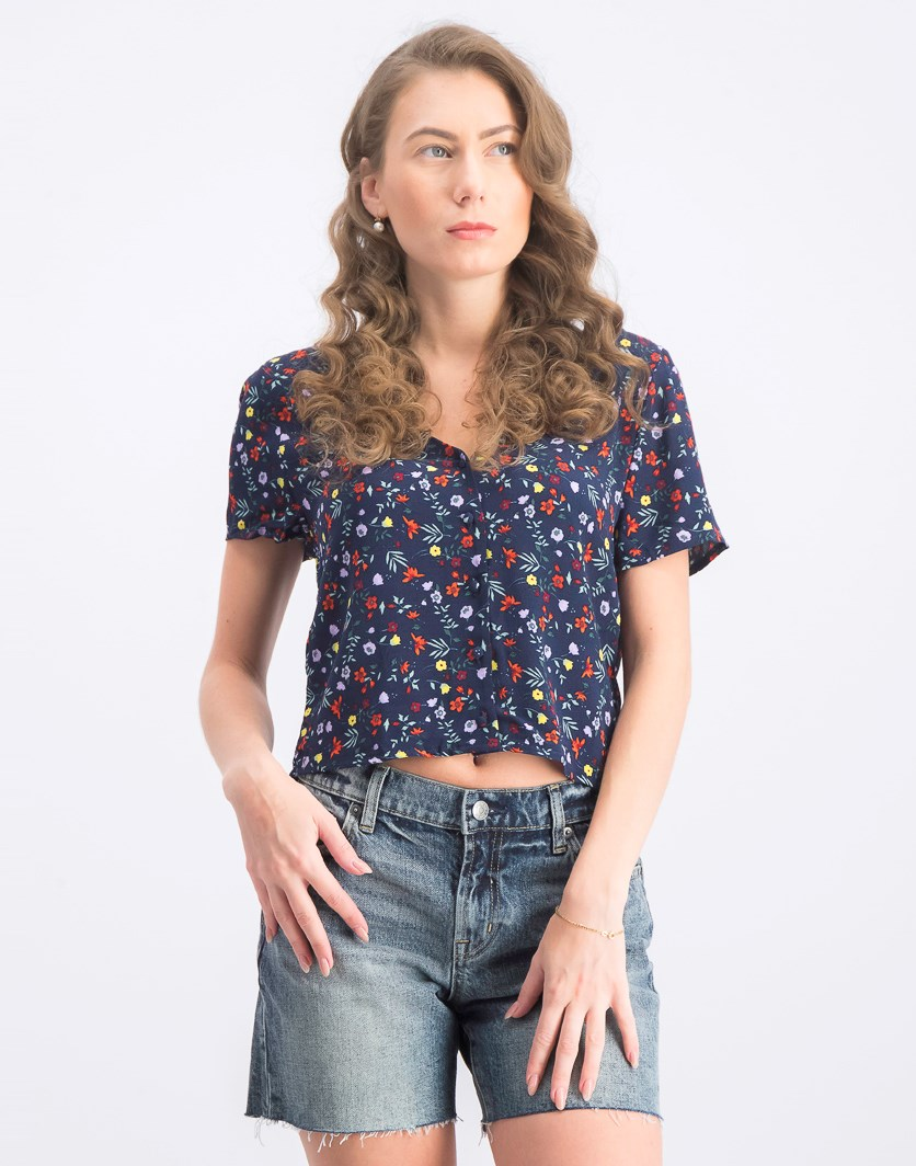 Women's Floral Crossed Detail Back Blouse, Navy Blue