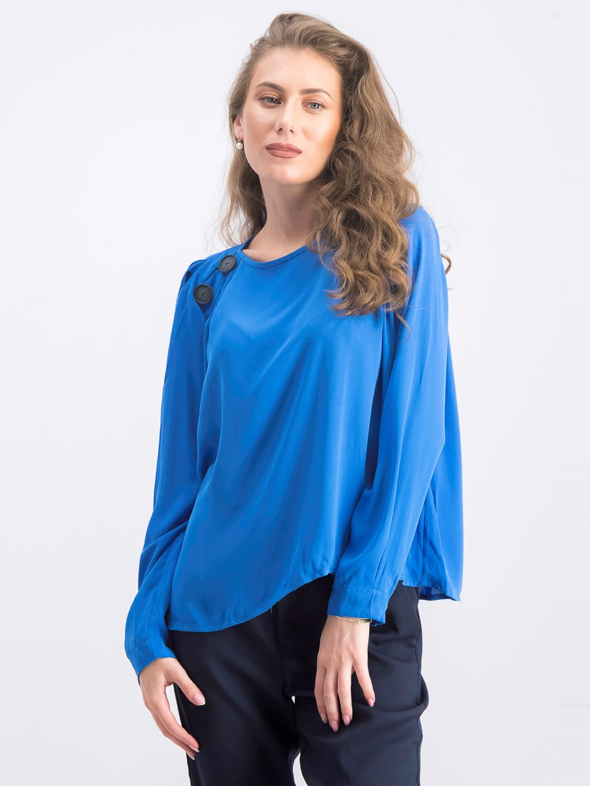 Women's Long Sleeve Blouse, Blue