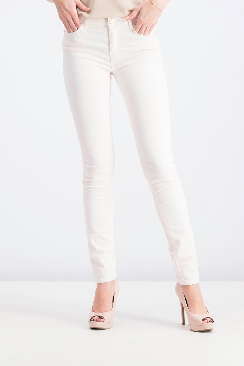 Women's Plain Skinny Jeans, Light Pink