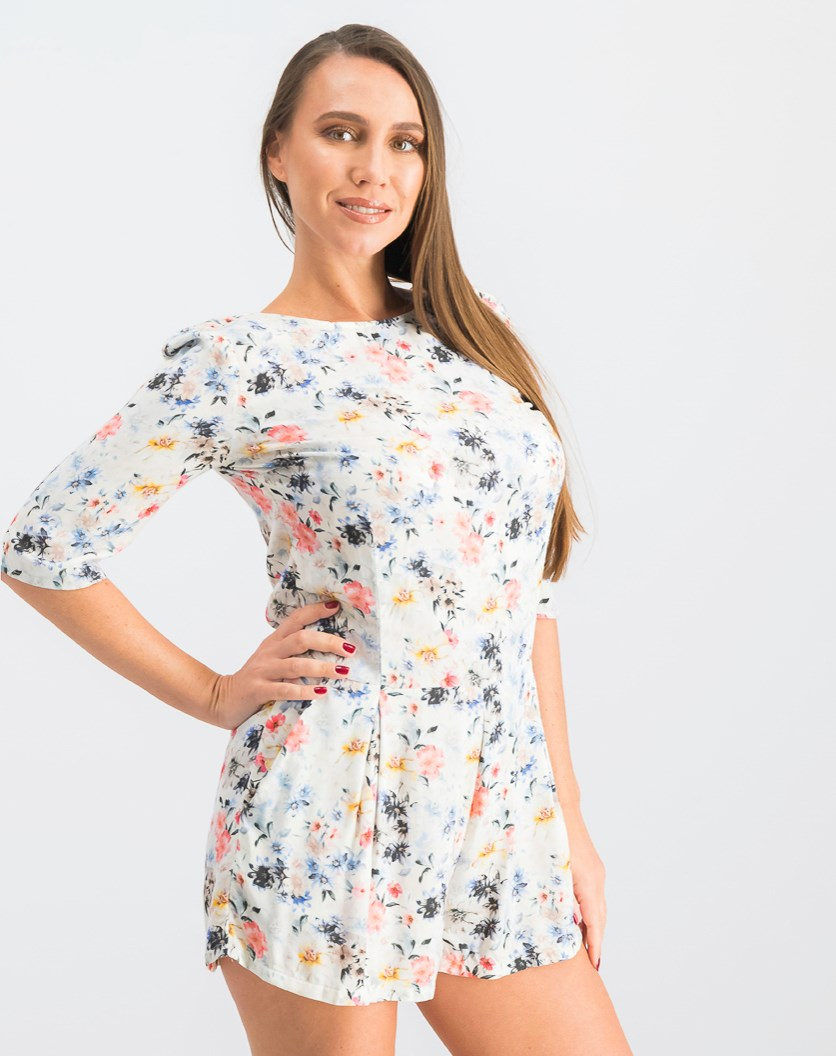 Women's Floral Romper, Offwhite Combo