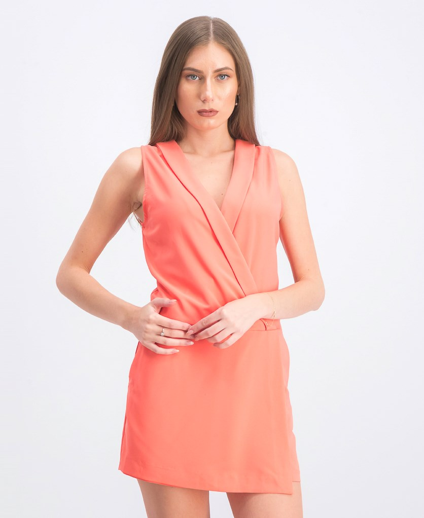 Women's Surplice Neck Romper, Coral