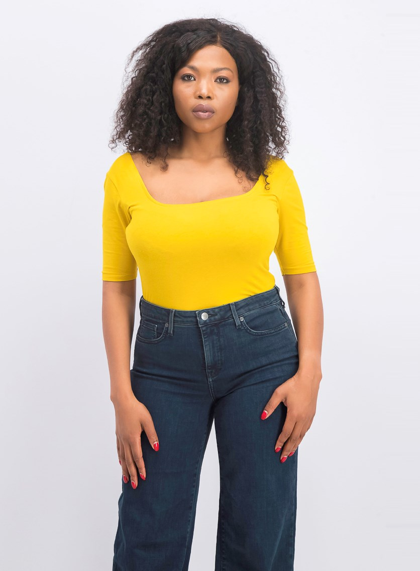 Women's Scoop Neck Top, Mustard