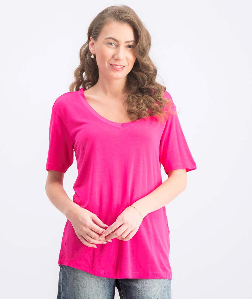 Women's V Neck T -Shirt, Dark Pink