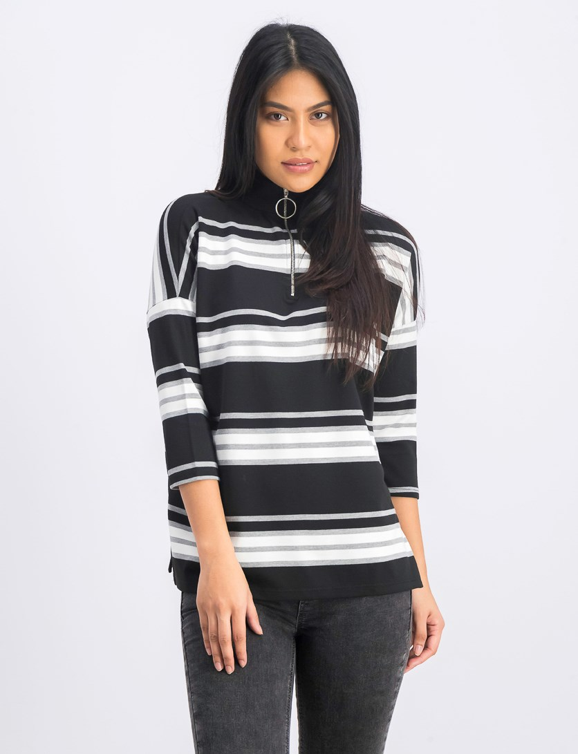 Women's Stripe Long Sleeve Sweater, Black Combo